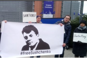 Belarusian activists hold rally in support of Sushchenko in Brussels