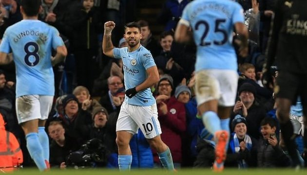 АПЛ: Четыре гола Агуэро позволили «Манчестер Сити» разгромить «Лестер»