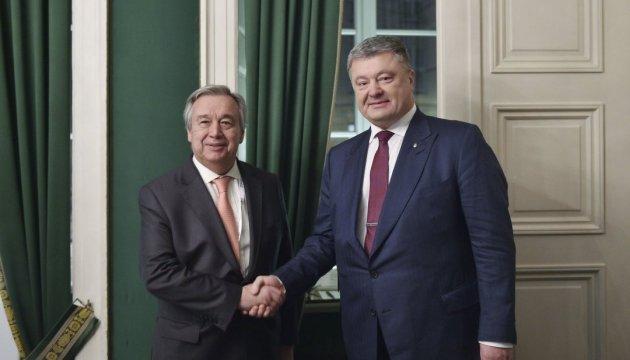 Порошенко обговорив з Генсеком ООН введення миротворців на Донбас