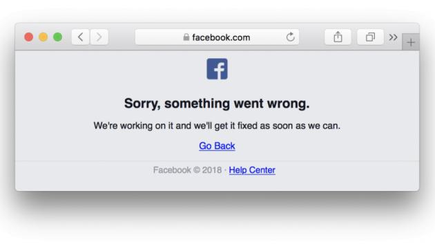 У роботі Facebook стався збій