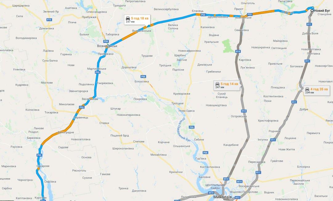 Р-55 Одеса - Вознесенськ - Новий Буг