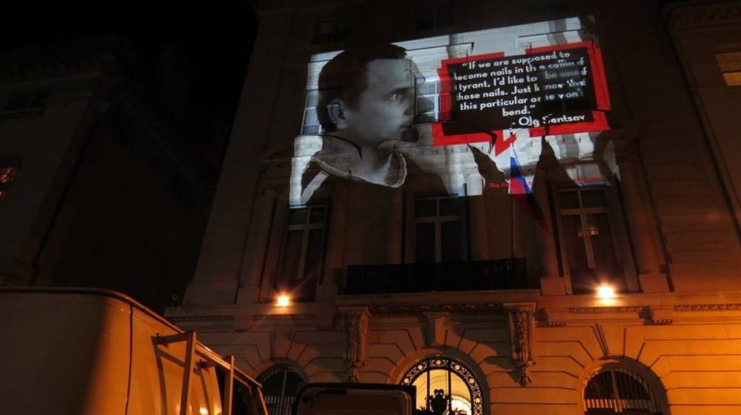 Projections dedicated to Oleg Sentsov appear on building of