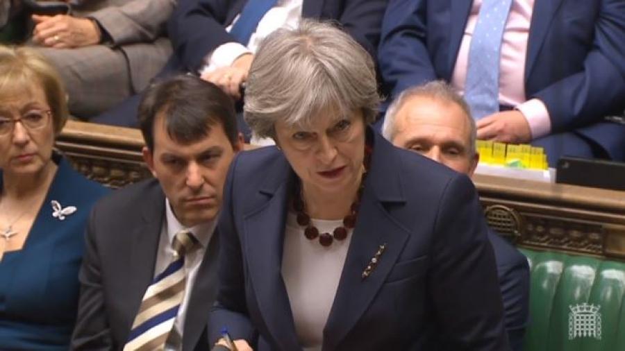 Тереза Мей під час виступу у парламенті Великої Британії, 14 березня 2018 року