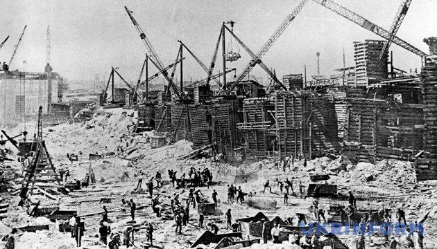 На початку будівництва Дніпрогесу. Фото: Укрінформ