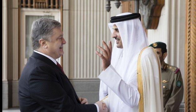 Treffen von Poroschenko mit dem Emir von Katar
