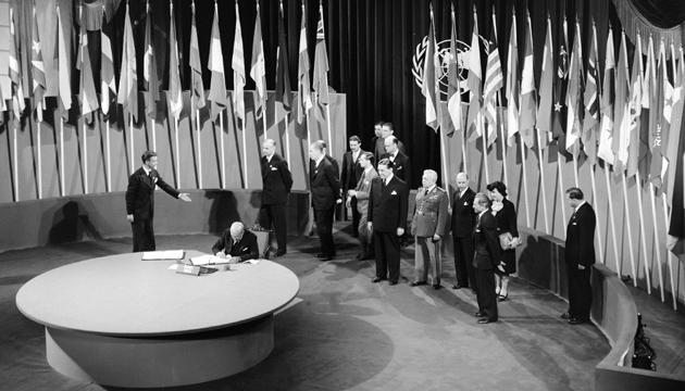 Підписання статуту ООН. Фото: Twitter