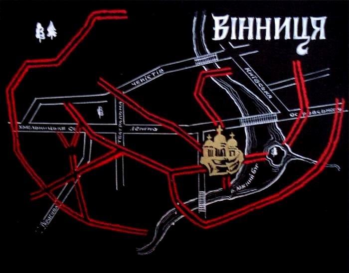 фото схеми вінницьких підземель, ствоерної на початку 90-х років минулого століття