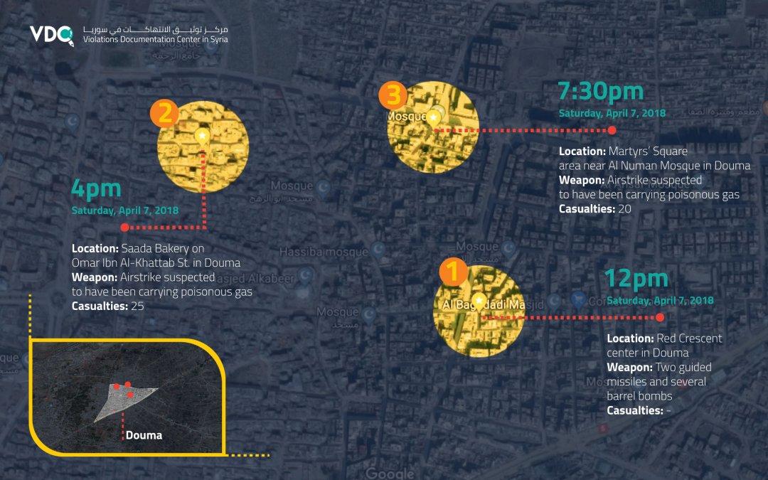Карта атак в Думе 7 апреля 2018 г от Центра документирования нарушений