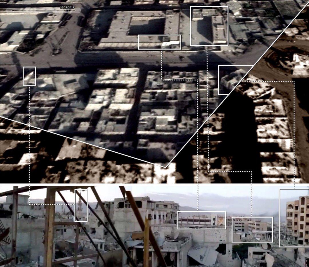 Сравнение кадра с Видео 6 (внизу) со спутниковым сником местности. Место съемки — крыша здания на координатах 33.573878, 36.404793