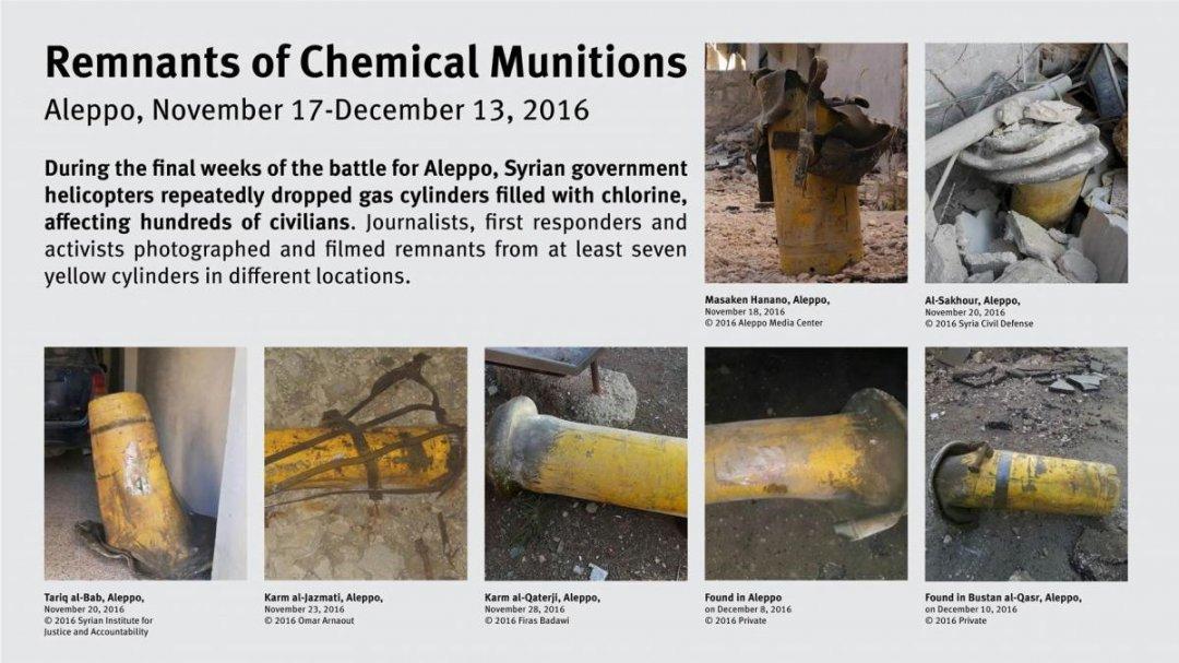 Инфографика Human Rights Watch c кадрами желтых газовых баллонов, неоднократно использовавшихся в конце 2016 года в ходе атак по Алеппо