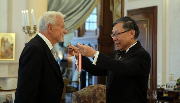 First Ukraine's ambassador to Japan receives imperial award. Photos