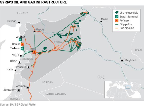 Карта нафтогазової інфраструктури Сирії