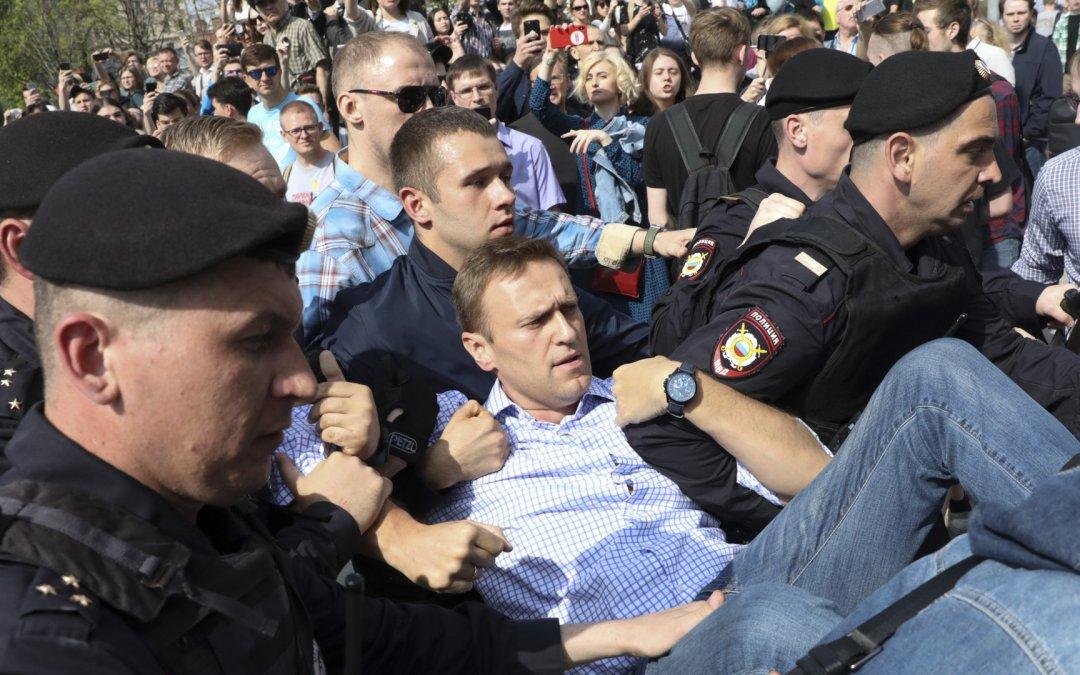 На Пушкінській площі в Москві поліція затримала Олексія Навального, який прийшов на мітинг