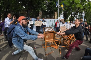 A protest rally held in Kyiv in support of political prisoners