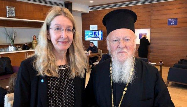 Патріарх Варфоломій поскаржився Супрун на тиск противників української автокефалії