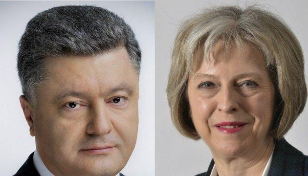 Petro Porochenko et Theresa May ont discuté de la lutte commune contre l'agression russe