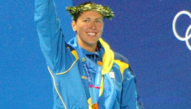 Українська спортсменка Яна Клочкова здобула золоту медаль у Афінах і стала триразовою олімпійською чемпіонкою. На фото: щаслива мить. - Зйомка 14 серпня 2004 року, Афіни. Фото Укрінформ.