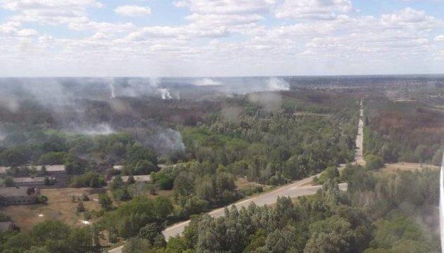 В Чернобыльской зоне третьи сутки тушат лесной пожар