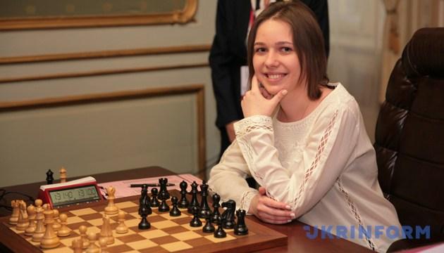 Марія Музичук під час сьомої шахової партії матчу за звання чемпіона світу з шахів серед жінок проти китайської шахістки Хоу Ікань. Львів, 11 березня 2016 року