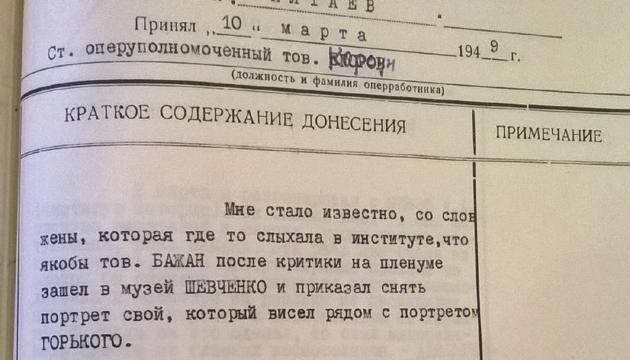 Фрагмент агентурного донесення від 10 березня 1949 р. зі справи-формуляра Миколи Бажана. Фото: справа-формуляр М.П. Бажана, Галузевий архів СБУ