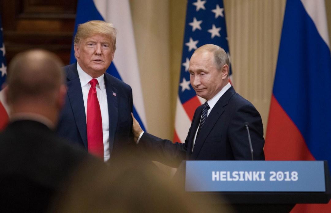 Президент США Дональд Трамп та президент РФ Володимир Путін під час зустрічі у Гельсінкі (16.07.18)