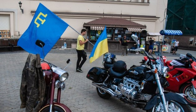 Motorcycle run of unity to reach administrative border with occupied Crimea. Photos
