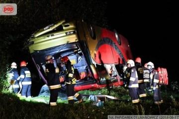 En Pologne, un bus avec des Ukrainiens a basculé dans un terrain en pente, il y a des victimes