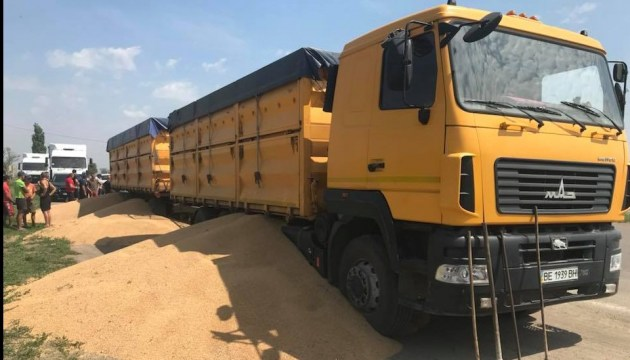 Весовой конфликт: на Николаевщине владелец авто выбросил зерно на дорогу