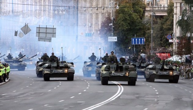 Probe der Militärparade in Kiew