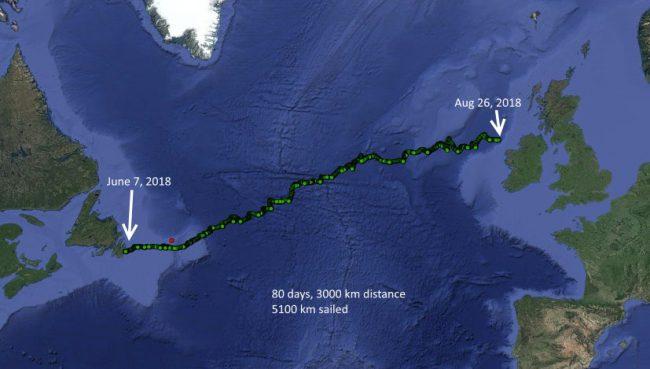 Норвезьке безпілотне судно Sailbuoy Met подолало дистанцію в 3000 кілометрів, діставшись від Ньюфаундленду до Ірландії трохи більше ніж за два з половиною місяці