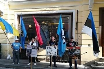 Une manifestation en soutien à Sentsov devant l'ambassade de Russie à Tallinn (photos, vidéo)