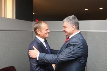 Poroshenko pide a la UE que intensifique la presión a Rusia para que libere a Súshchenko, Sentsov y Balukh
