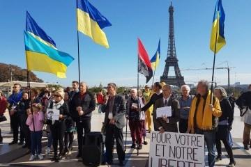 Acción en apoyo de Súshchenko en el corazón de París