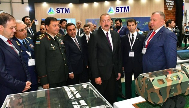President of Azerbaijan visits stands of Ukroboronprom, Motor Sich at ADEX 2018