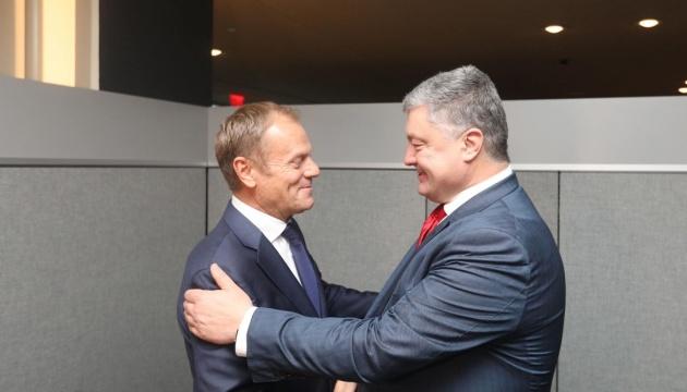 Poroshenko, Tusk discuss situation in Donbas