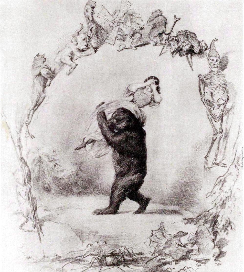 Художник П.П. Соколов (1826-1905). Иллюстрация к Евгению Онегину