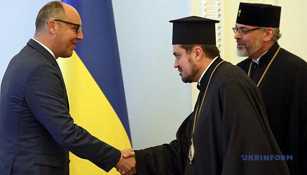 Parubiy se reúne con los exarcas del Patriarca Ecuménico