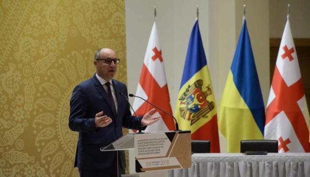 Parubij: Ukraine, Georgien und Moldawien müssen eine gemeinsame Strategie gegen Russland entwickeln