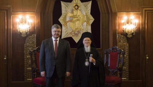 Порошенко поздравил Вселенского патриарха с 27-й годовщиной интронизации