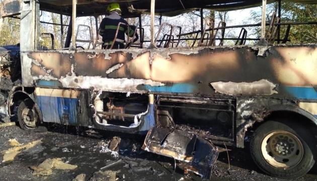 В Днепропетровской области во время движения загорелся автобус с пассажирами