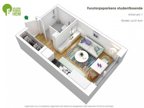 На фото: орієнтовний план кімнати-студії