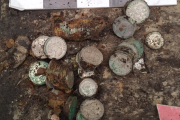 Archaeologists discover almost two kilos of silver coins in Kyiv