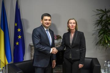 Hroїsman a discuté avec Mogherini de la nécessité de renforcer les sanctions contre la Russie