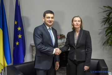 Hrojsman trifft sich mit Mogherini und Tusk