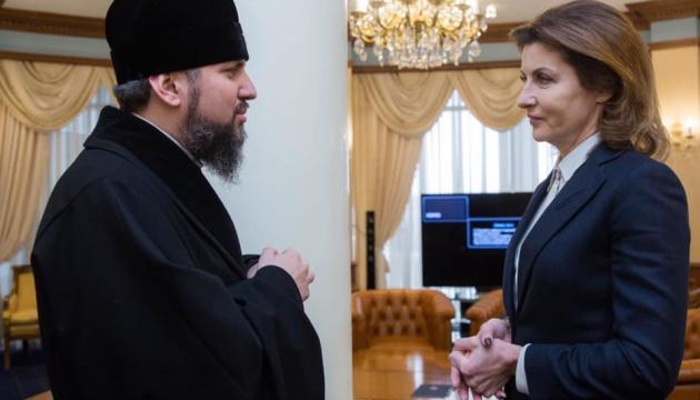 Марина Порошенко привітала Епіфанія з обранням Предстоятелем УПЦ
