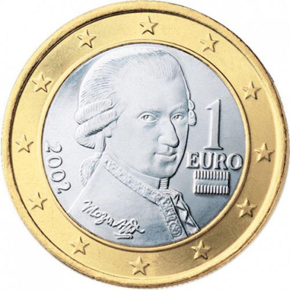 Монета номіналом в 1 євро із зображенням Моцарта