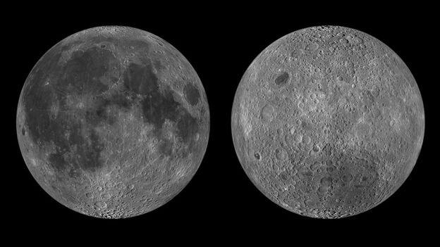 Ближняя сторона Луны (слева) и обратная сторона (справа) имеют несколько значительных отличий. Фото: NASA