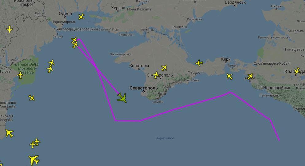 PlaneRadarが公開した1月23日のRC135Vの飛行ルート