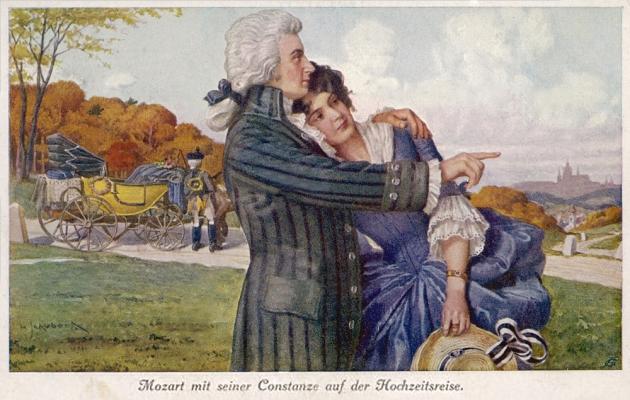 Моцарт і Констанція під час медового місяця. Листівка XIX століття