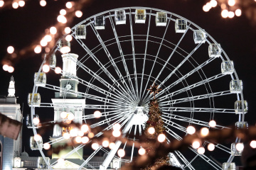Drone films Christmas Town on Kontraktova Square in Kyiv